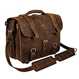 Augus Leather Messenger Bag for Men Briefcase Travel Backpack Shoulder Bag Fit 17'' Laptop