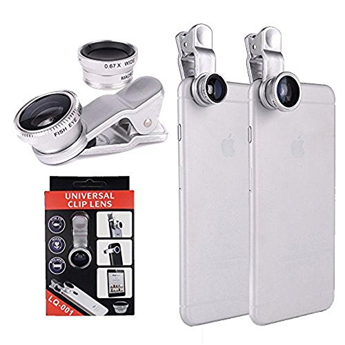 YOPO Universal Clip Camera lens kit for iPhone 6s plus/6s/6 plus/6,Samsung GalaxyS6/S5,Mobile Phones (Fish Eye Lens+ 2in1Macro Lens & Wide Angle Lens)(silver) by YOPO