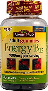 Nature Made Energy B-12 Adult Gummies, Cherry & Wild Berries 80 ea