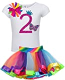 Bubblegum Divas Baby Girls 2nd Birthday Rainbow Princess Butterfly Tutu Outfit 24 Months