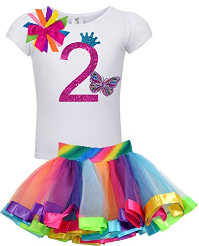 Girls 2nd Birthday Rainbow Princess Butterfly Tutu Outfit 3T (Diva Sheer)