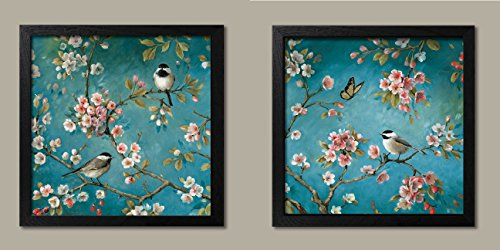 (Gango Home Décor Beautiful Turquoise Cherry Blossom, Bird and Butterfly Print Set by Lisa Audit; Two 12x12in Black Framed Prints, Ready to Hang!)