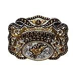 Silver and gold plated belt buckle Hebilla de alpaca con baño de oro Champion Rodeo