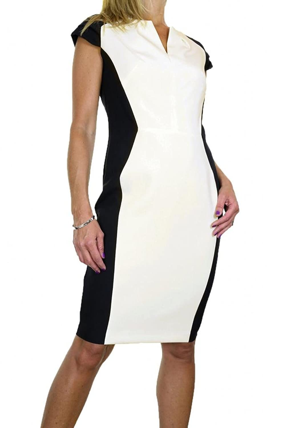 (3988-1) Monochrome Function Pencil Dress Fully Lined Black Cream
