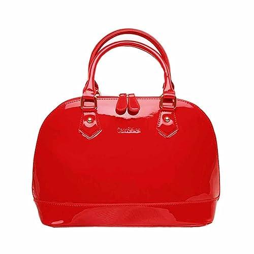 d3cc3e26c8b7f AiSi Damen Lack Leder Handtasche Damenhandtasche   Schultertasche Henkeltasche mit Reißverschluss Rot
