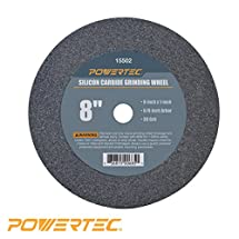 "POWERTEC 15502 5/8"" Arbor 36-Grit Silicon Carbide Grinding Wheel, 8"" by 1"""
