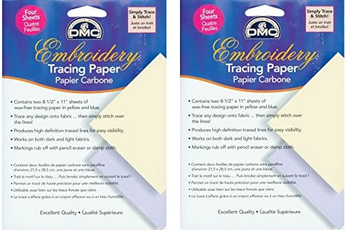 DMC U1541 Embroidery Tracing Paper, Yellow/Blue, 4-Sheets (2 Pack)