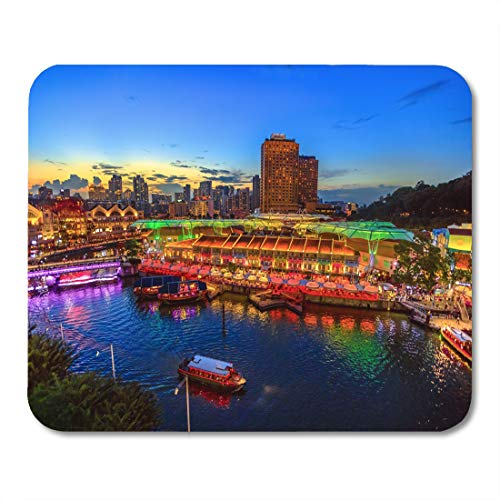 Semtomn Mouse Pad Scenic Aerial View of Clarke Quay and Riverside Area Mousepad 9.8