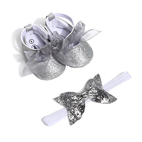 Kuner Baby Girl Christening Baptism Toddler Shoes Dance Ballerina Slipper with Bow Ribbon (Size1-Shoes length-11cm(0-6months), Silver) (Silver Slipper)