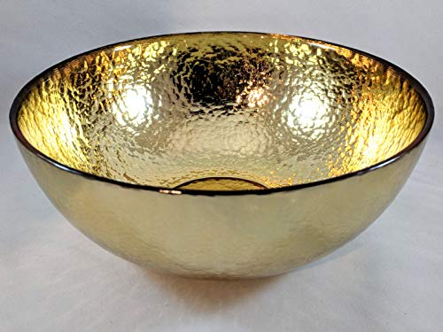Circleware 09321 Metro Metal Serving Mixing Fruit Bowl, Home and Kitchen Decoration Dish Serveware for Salad, Cake, Ice Cream, Dessert, Food, Punch, Beverage, Best Selling Gifts 7.8'' x 3.15'' Gold