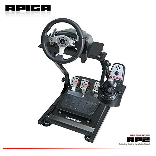 APIGA AP2 Foldable Racing Simulator Stand plus gearshift mount (Racing Porsche Wheel)
