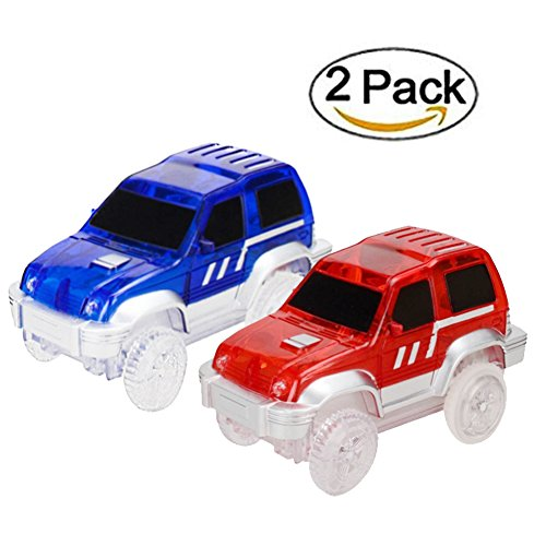 MIGE Car Track, Light Up Jeep Toy Car (2-Pack),Multicolord flashing lights,Fits Most Racing Track Accessories,Perfect for Boys and Girls Killing time(Blue and Red) (Glow Racing Wheel)