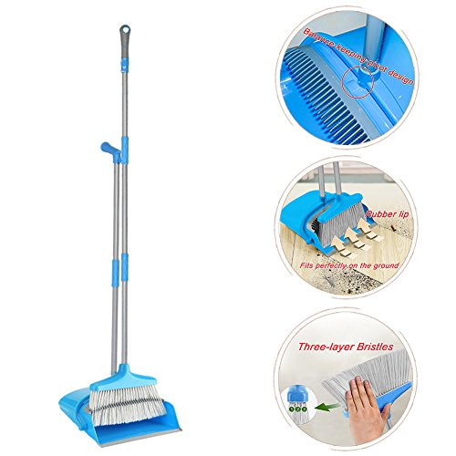 IKU Transmutable in Length Long Handle Broom and Dustpan Set - 3 Poles (48'') & 2 Poles (35.2'') - Indoor Upright Standing Collapsible Lobby Broom for Home Office Kitchen with Hand Scrub Brush(Blue) by IKU (Image #4)