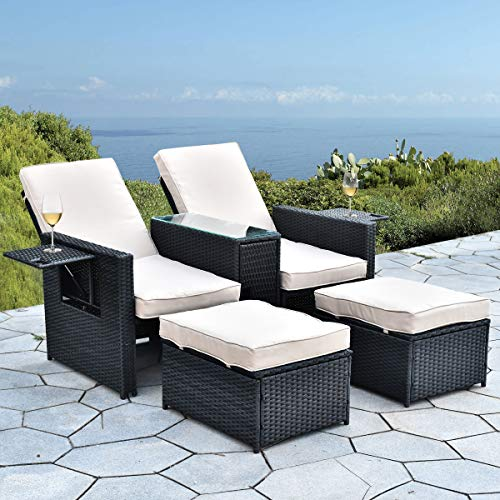 B BAIJIAWEI 5pcs Patio Wicker Loveseat – Outdoor Rattan Sofa Set with Cushion – Adjustable Lounge Chair with Ottoman Footrest, Wicker Furniture for Garden, Patio, Balcony, Beach, Coffee Bar, Deck