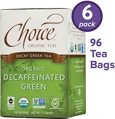 Choice Organic Teas Green Tea, 6 Boxes of 16 (96 Tea Bags), Decaffeinated Green