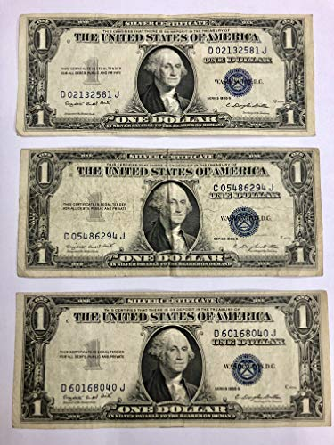 - 3-1935 Series G Silver Certificate (3) Note Lot Very Good