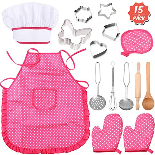 Kitchen Sets for Girls - Pack of 15 - Chid Chef Hat and Little Girl Cooking Aprons Play Set | Pretend Chef Role Play Costume Set | 2 Gloves, Butterfly Cutter | Girls Apron - Girls Kitchen Set