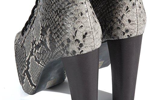 Jeffrey Campbell litas Snake Grey ankle shoes high heel Scapre-Botines de serpiente de tacón y platform alto Snake