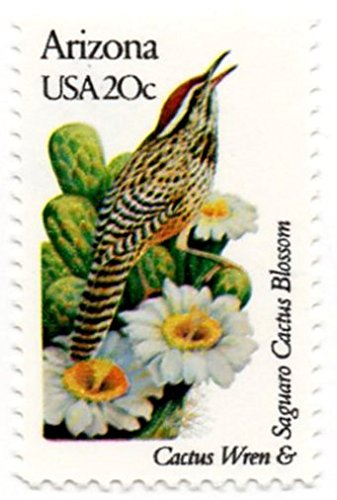 - USA Postage Stamp Single 1982 Arizona State Bird And Flower Issue 20 Cent Scott #1955