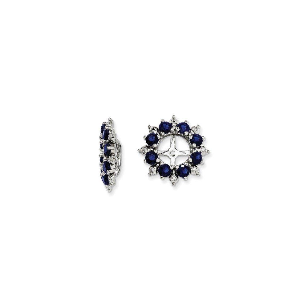 Sterling Silver Diamond /& Created Sapphire Earring Jacket