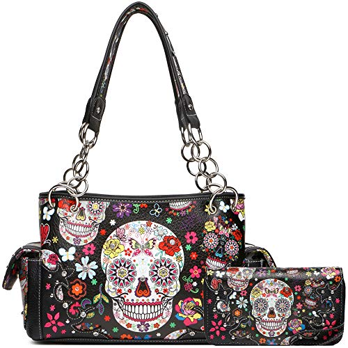 Sugar Skull Rose Flower Day of the Dead Concealed Carry Purse Totes Women Handbag Shoulder Bag Wallet Set (2 Black Set)