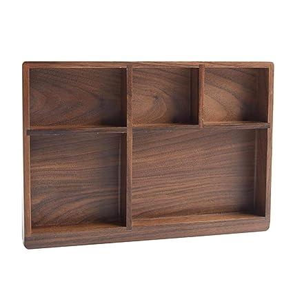 332PageAnn Caja Madera Cocina Organizador de Cubiertos para cajón, 5 Compartimentos, de Nogal,