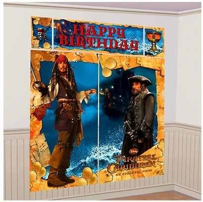 Pirates of the Caribbean Scene Setter Giant 5 Pc Birthday Wall Decorating Kit