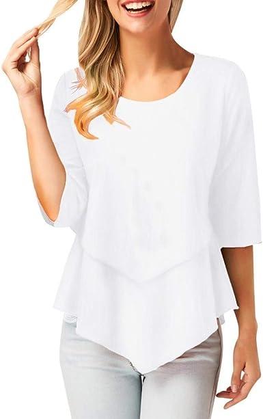 Camiseta Ladies Lady Summer Chiffon Loose Elegante Irregular Media Manga Ropa Casual Tops Camisa Blusa Top Mujeres: Amazon.es: Ropa y accesorios