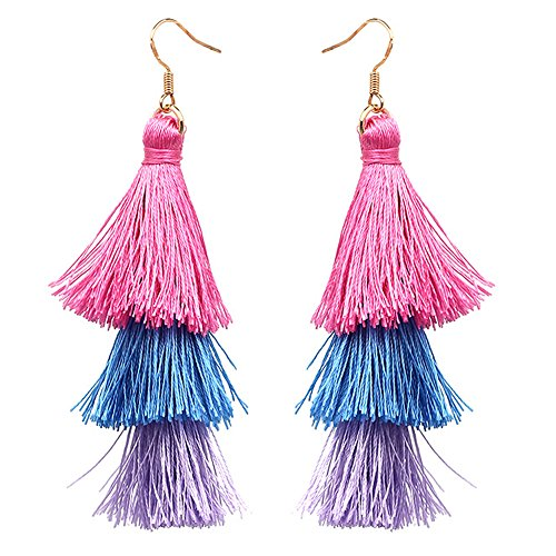 Tassel Dangle Threader Drop Earrings Ear Studs Layered Fringe Thread Hoops Linear Tribal Charms Jewelry Red ()