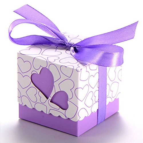 Tinksky 100pcs Wedding Favor Candy Boxes Gift Boxes - Double Hollow Love Heart Design (Purple)
