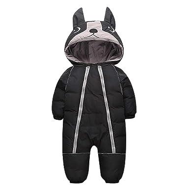 HLHN Baby Girls Boys Romper Hooded Ears Zip Jumpsuit Outfits Newborn Infant Winter Warm Snowsuit Coat Outwear