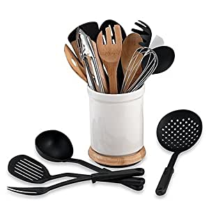 Denmark® Rotating 17-Piece Utensil Crock Set Bamboo and Stainless Steel Tools