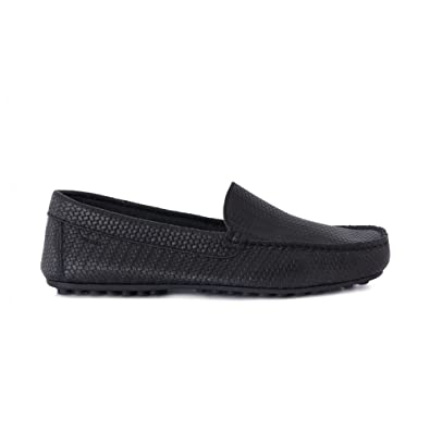 FRAU 31Q0 zapatos negros holgazanes del hombre de cuero trenzado de Prensa 45 wmQPB