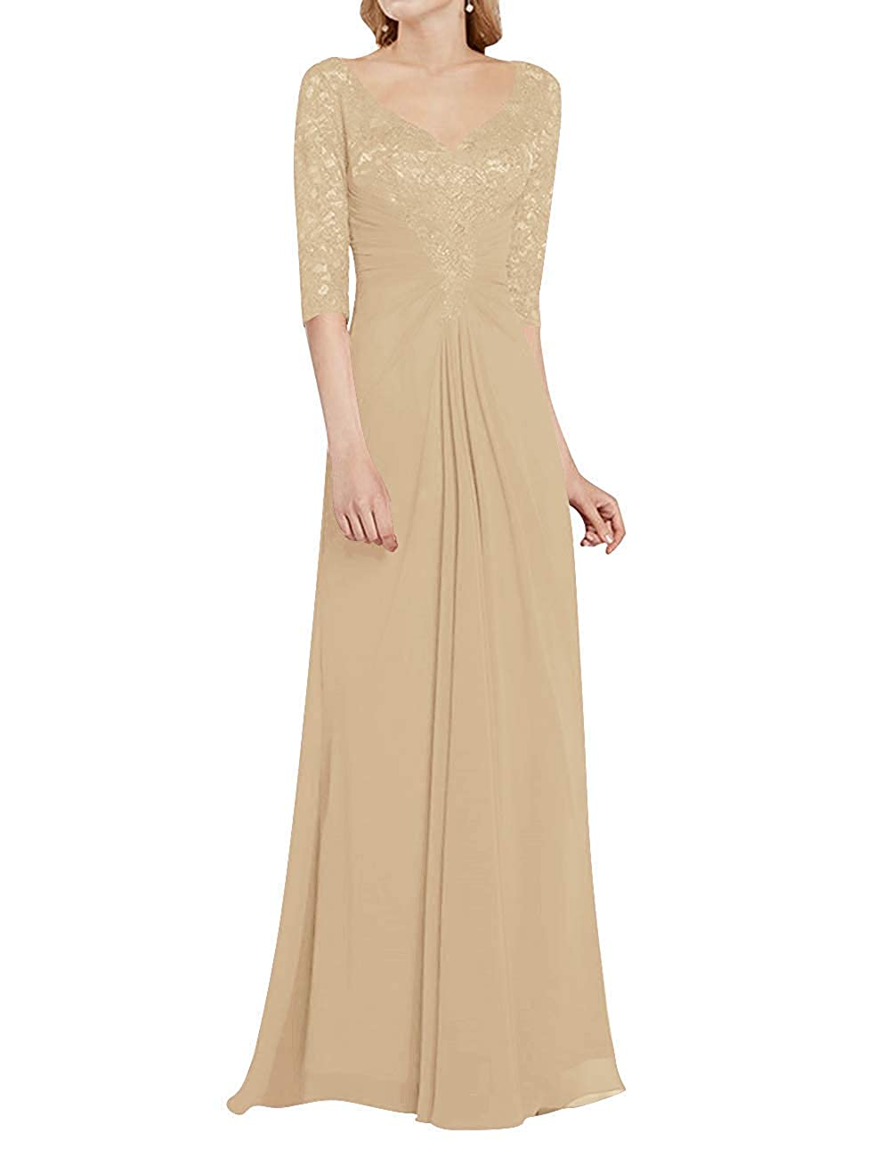 Champagne Mother of The Bride Dress with Half Long Sleeves Formal Evening Gownes Mother Dresses
