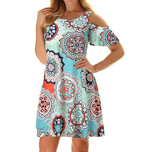 (Misyula Style Petite Dresses for Women, Girls Summer Dress Pretty Floral Stunning Garments Cold Shoulder Airy Leisure Style Hawaiian Paisley Clothes Round Neck Casual Wear Light Green Flower M)