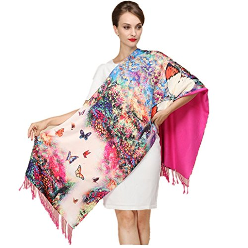 (Shanghai Story Silk Scarves Thick Autumn and Winter Scarves Female Long Section of Double-sided Brushed Scarf Shawl Dual)