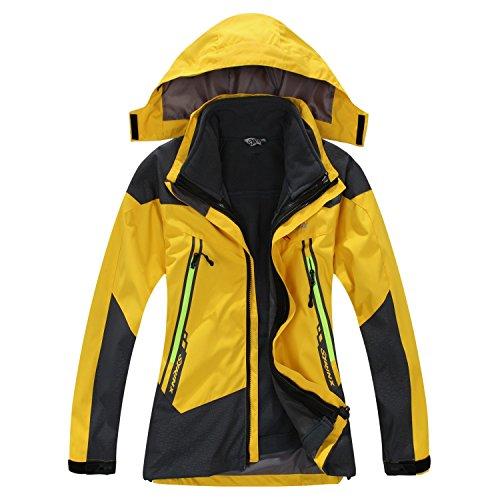 SYRINX Kinder 3 in 1 Wasserdicht Atmungsaktiv Outdoor Camping Wandern Jacke Winddicht Kapuze Mantel mit Fleecejacke (X-Small, Gelb)