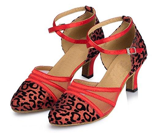 Tda Womens Cinturino Alla Caviglia Fibbia Leopard Appliques Mesh Glitter Punta Chiusa Tacco Medio Scarpe Da Ballo Latino Tango Rosso