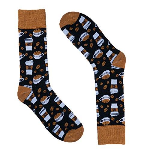 Novelty Socks for Men - Fun Colorful Dress Socks - Premium Cotton - Size 8-13 (One Pair) (Coffee (Black))
