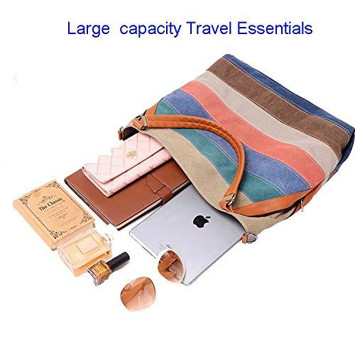 grande Diagonal Bolso capacidad De Edición Ocasional Del Vintage Hombro La Coreano Lona Bolsa moda Freedol color Asas Raya XY1qaWw
