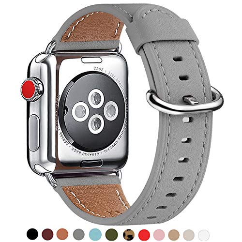 WFEAGL Compatible iWatch Band 38mm 40mm 42mm 44mm, Top Grain Leather Bands of Many Colors for iWatch Series 5,Series 4,Series 3,Series 2,Series 1 (Gray Band+Silver Adapter, 38mm 40mm)