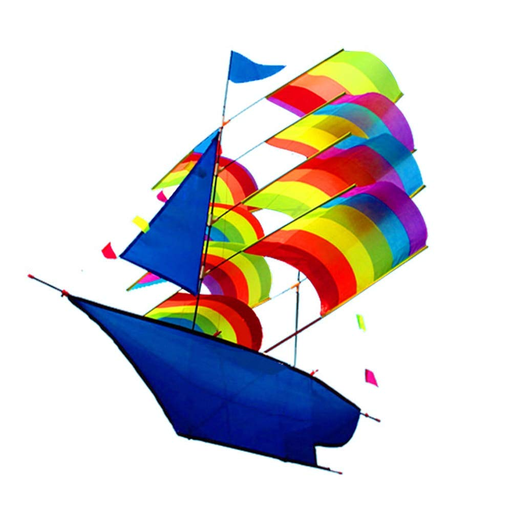 66 96cm 3D Sailboat Kite for Kids Adults Sailing Boat Flying Kite with String and Handle Outdoor Beach Park Sports Fun by SHLMM
