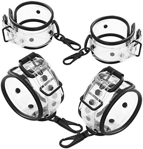 Heallily Sex-Fesseln 2 Paar BDSM-Leder-Bondage-Sets verstellbare Handschellen und Fußfesseln Bett-Fessel-Set Fesselriemen für Paare