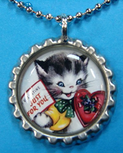 (1 Valentines Day Silver Bottle Cap Pendant Necklace #14)