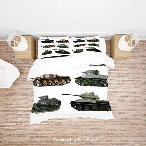 FashSam 4 Piece Bedding Sets Breathable Second World War Armoured Tanks Camouflage Military Power Artillery Weapon for Home(King)