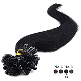 20″(50cm) 100 Strands Straight Pre Bonded U Nail Tip Keratin Fusion Remy Human Hair Extensions 0.5g Per Strand [Set Weight: 50grams] (Color #1 jet black)