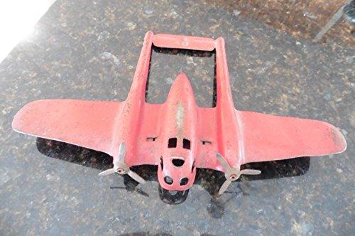 Pressed Steel Toy (Vintage Pressed Steel Airplane Plane Red prop plane tin toy wood ? Louis Marx ?)