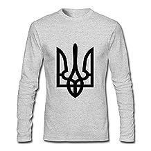 Lenajty Ukraine Tryzub Proud Ukrainian Men Crew Neck Long Sleeve Shirts Graphic Shirs
