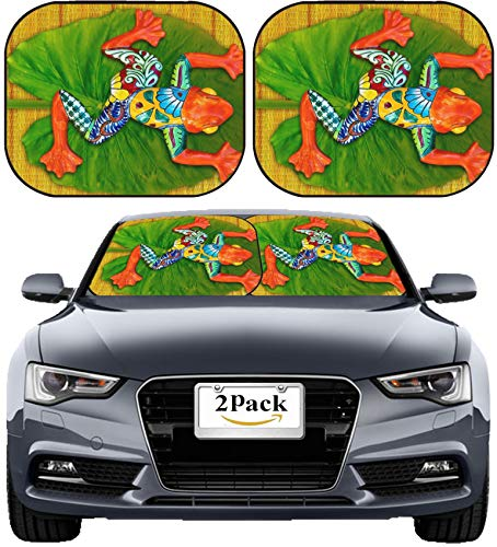 MSD Car Sun Shade Windshield Sunshade Universal Fit 2 Pack, Block Sun Glare, UV and Heat, Protect Car Interior, Image ID: 13294167 Painted Frog on lillypad with Bamboo - Frog Sunshade