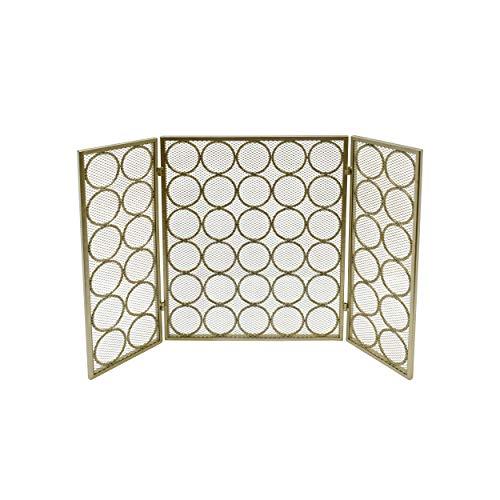 - Great Deal Furniture 309111 Koda Modern Three Panel Iron Firescreen, Gold